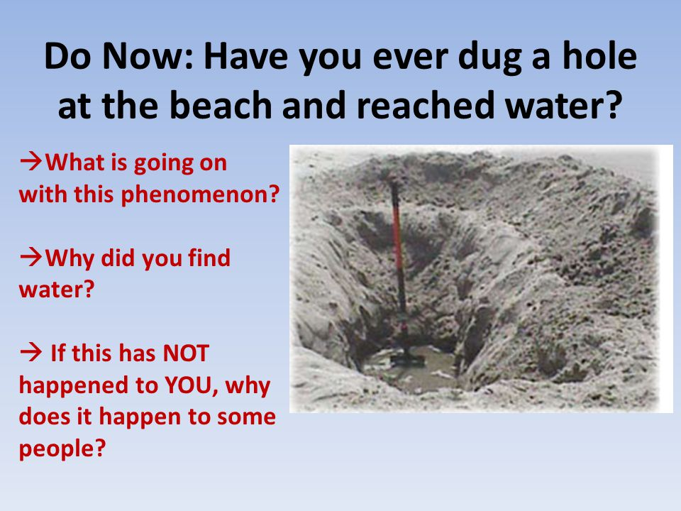 Do Now: Have you ever dug a hole at the beach and reached water.