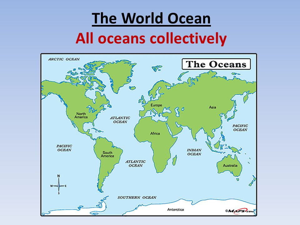 The Earth's Oceans Ranking from largest to smallest: 1.Pacific 2.Atlantic 3.Indian 4.Southern (Antarctic) 5.Arctic  What differentiates ocean water from freshwater.