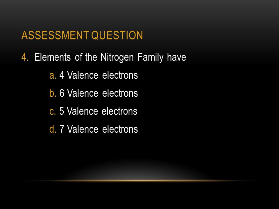 ASSESSMENT QUESTION 4.Elements of the Nitrogen Family have a.
