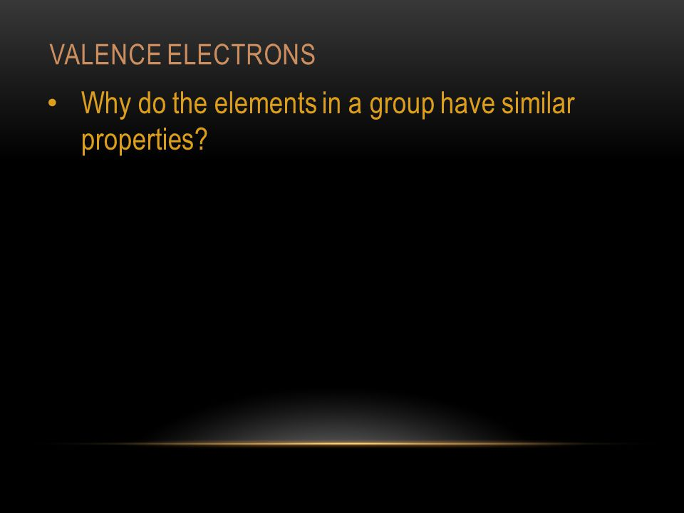 VALENCE ELECTRONS Why do the elements in a group have similar properties