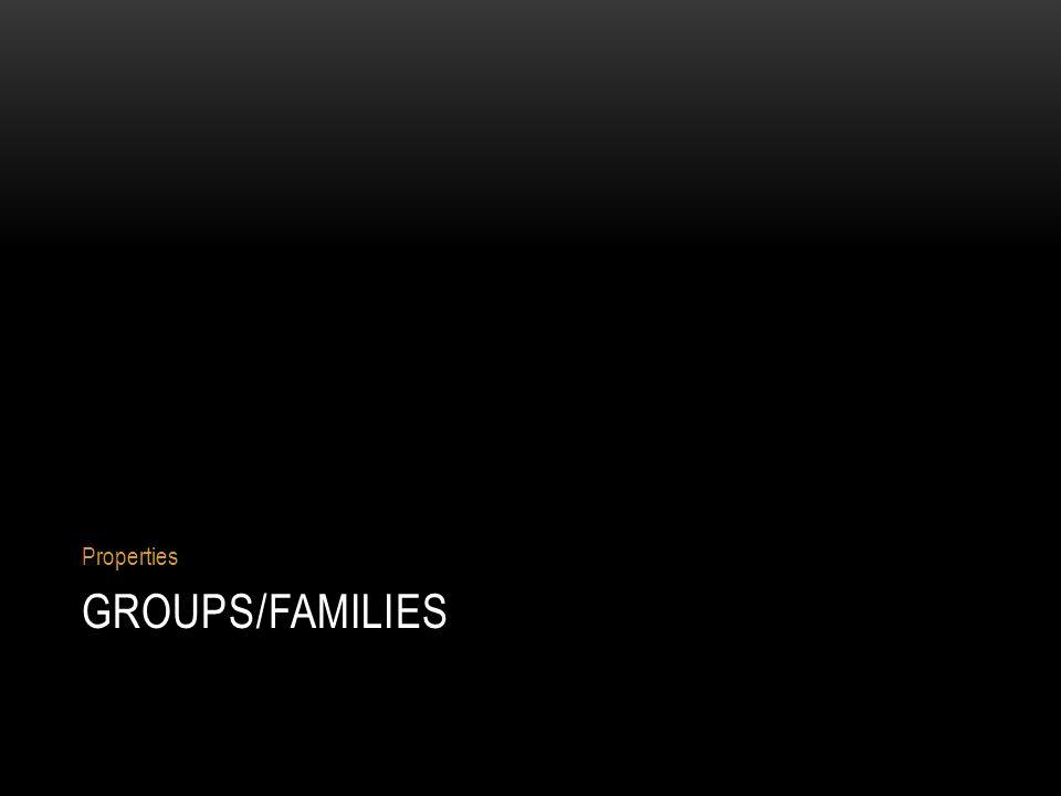 GROUPS/FAMILIES Properties