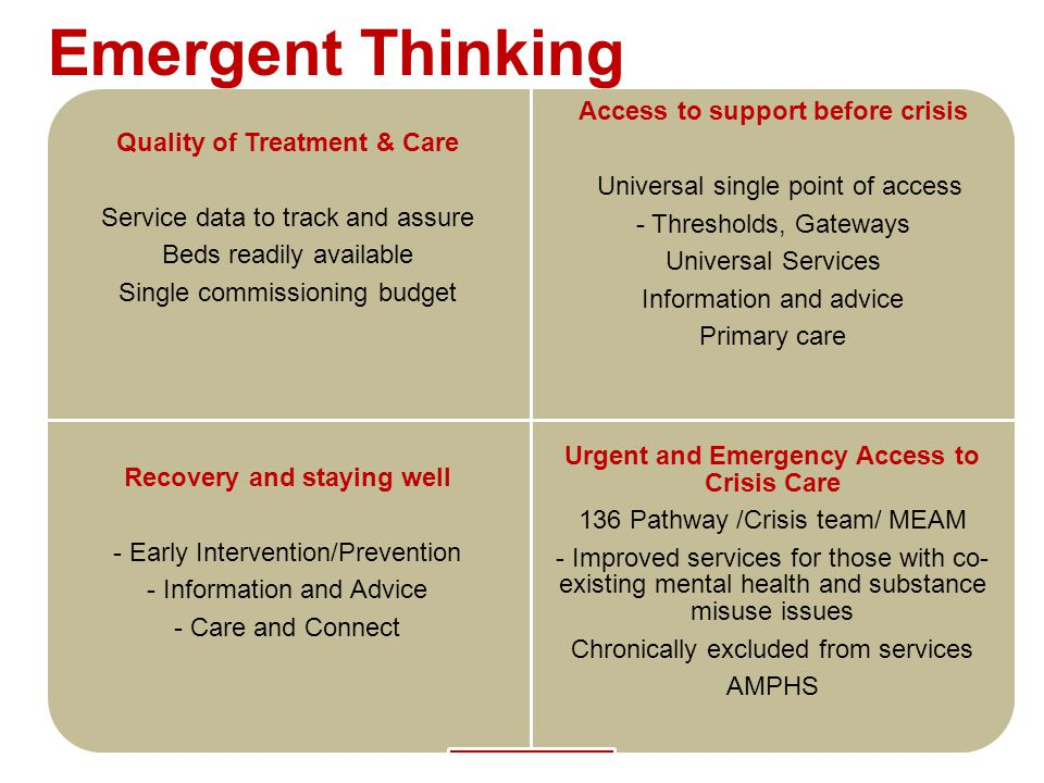 Quality of Treatment & Care Service data to track and assure Beds readily available Single commissioning budget Access to support before crisis Univer