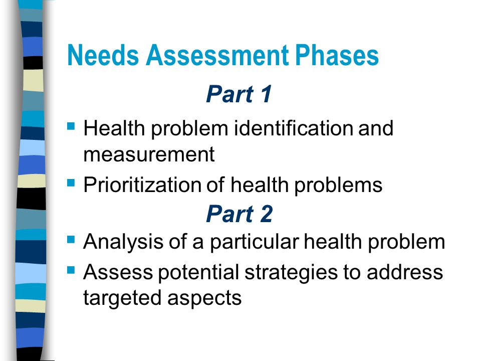Needs Assessment Phases  Health problem identification and measurement  Prioritization of health problems  Analysis of a particular health problem  Assess potential strategies to address targeted aspects Part 1 Part 2
