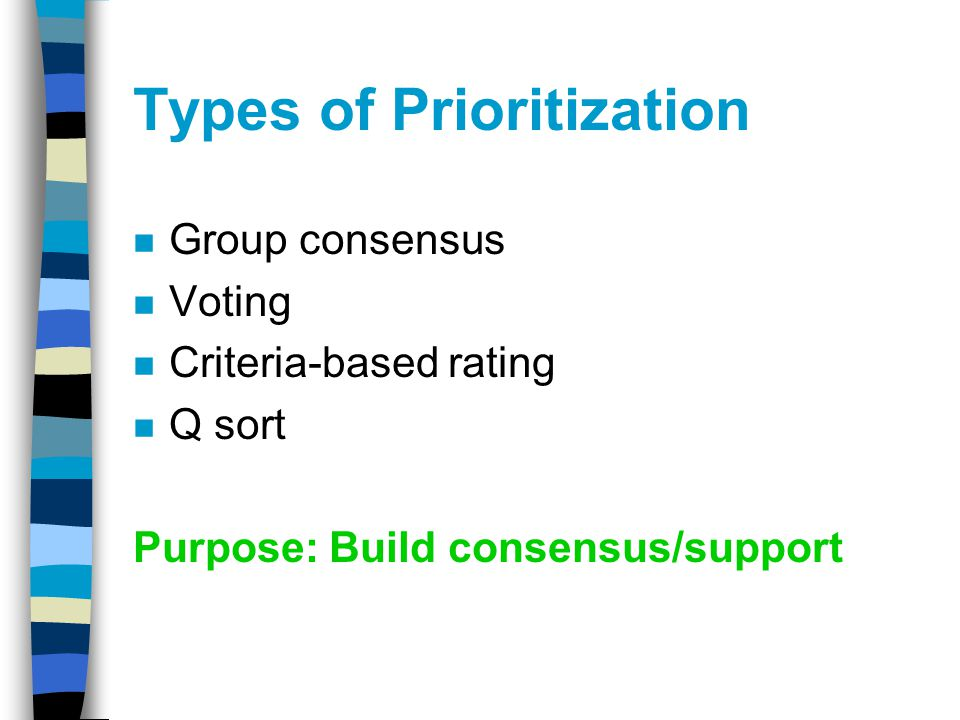 Types of Prioritization n Group consensus n Voting n Criteria-based rating n Q sort Purpose: Build consensus/support