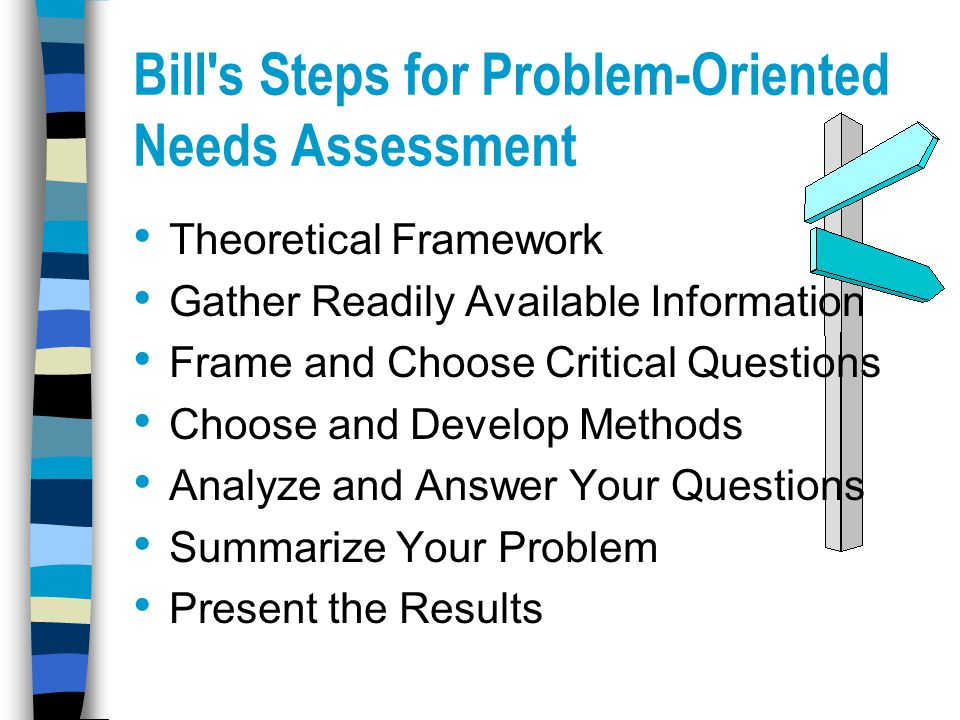 Bill s Steps for Problem-Oriented Needs Assessment Theoretical Framework Gather Readily Available Information Frame and Choose Critical Questions Choose and Develop Methods Analyze and Answer Your Questions Summarize Your Problem Present the Results