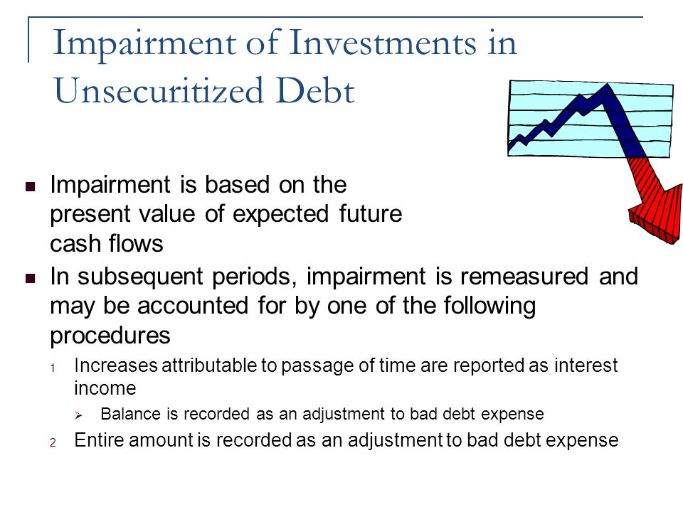 Impairment of Investments in Unsecuritized Debt Impairment is based on the present value of expected future cash flows In subsequent periods, impairme