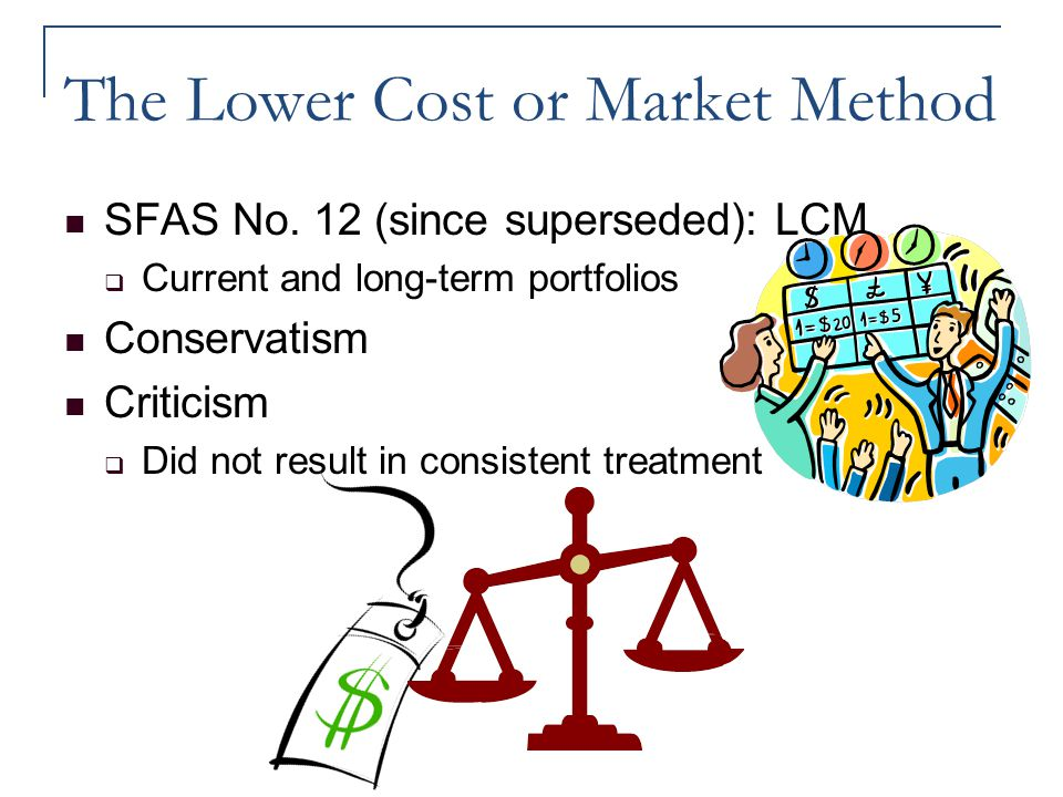 The Lower Cost or Market Method SFAS No. 12 (since superseded): LCM  Current and long-term portfolios Conservatism Criticism  Did not result in cons