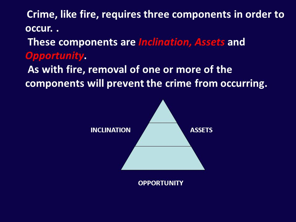 INCLINATION ASSETS OPPORTUNITY Crime, like fire, requires three components in order to occur.. These components are Inclination, Assets and Opportunit