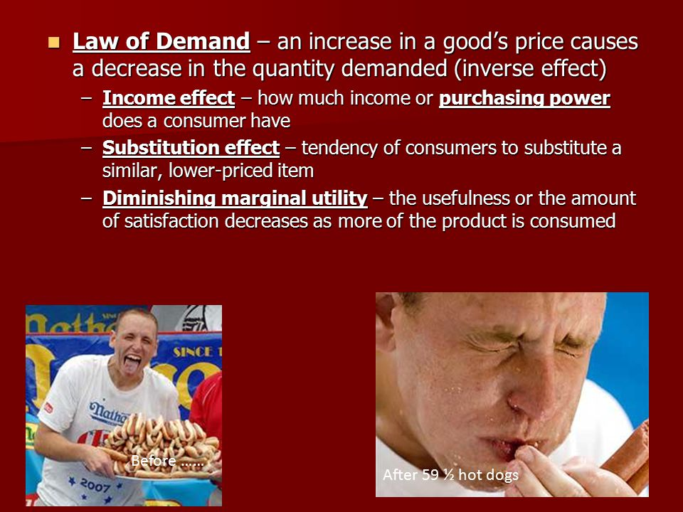 Law of Demand – an increase in a good's price causes a decrease in the quantity demanded (inverse effect) Law of Demand – an increase in a good's price causes a decrease in the quantity demanded (inverse effect) –Income effect – how much income or purchasing power does a consumer have –Substitution effect – tendency of consumers to substitute a similar, lower-priced item –Diminishing marginal utility – the usefulness or the amount of satisfaction decreases as more of the product is consumed After 59 ½ hot dogs Before ……