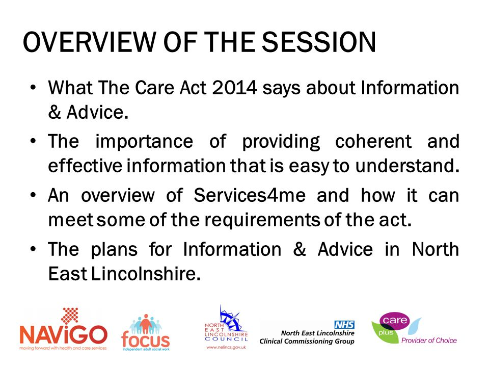 What The Care Act 2014 says about Information & Advice.