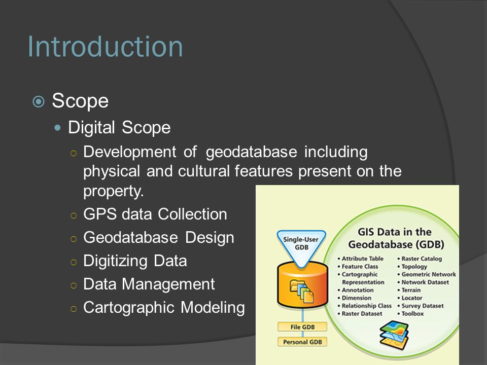 Introduction  Scope Digital Scope ○ Development of geodatabase including physical and cultural features present on the property. ○ GPS data Collectio