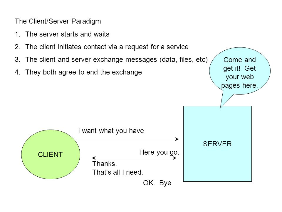The Client/Server Paradigm 1.The server starts and waits 2.The client initiates contact via a request for a service 3.The client and server exchange m