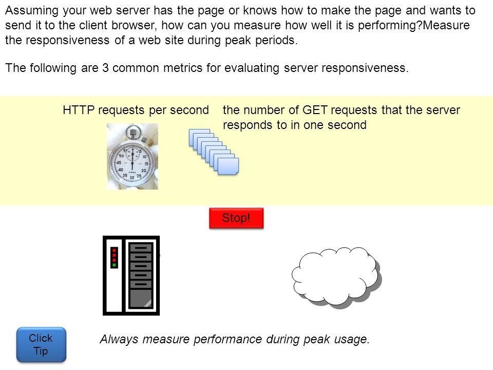 Assuming your web server has the page or knows how to make the page and wants to send it to the client browser, how can you measure how well it is per