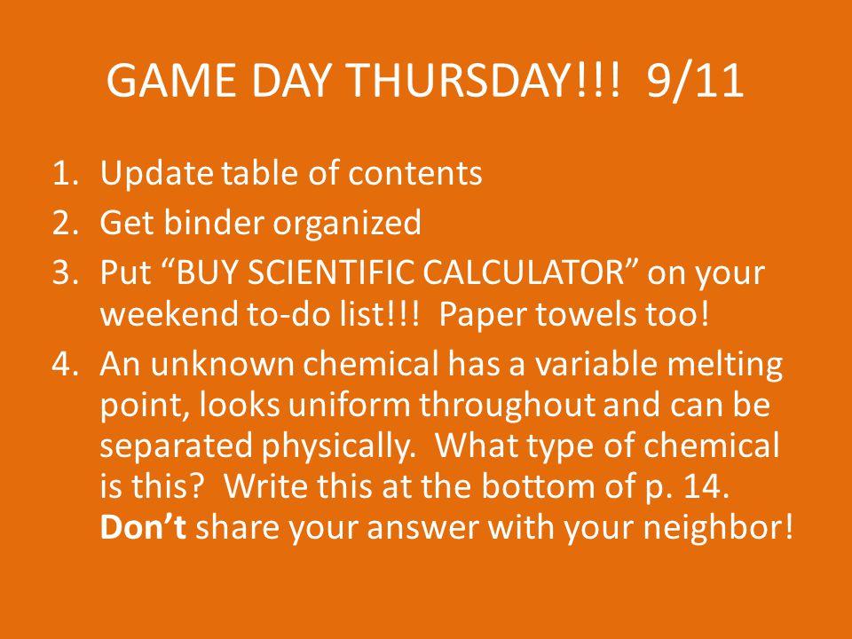 GAME DAY THURSDAY!!.