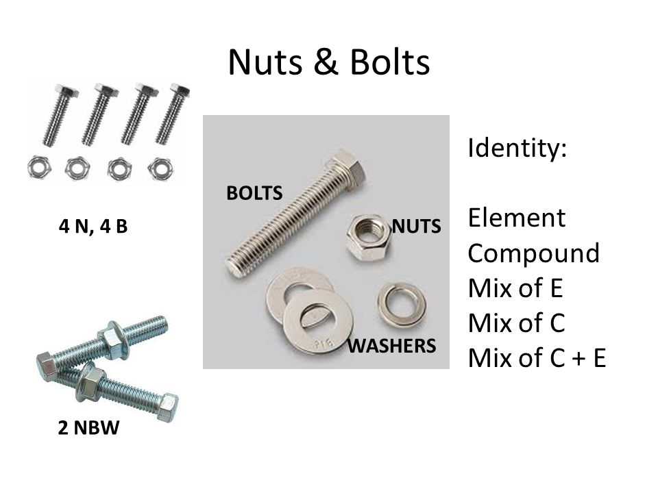 Nuts & Bolts NUTS BOLTS WASHERS 2 NBW 4 N, 4 B Identity: Element Compound Mix of E Mix of C Mix of C + E