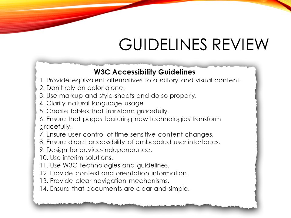 GUIDELINES REVIEW W3C Accessibility Guidelines 1.
