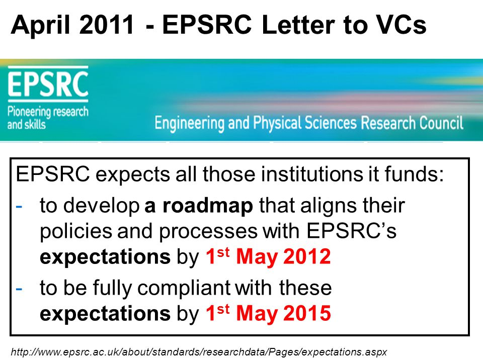 http://www.epsrc.ac.uk/about/standards/researchdata/Pages/expectations.aspx April 2011 - EPSRC Letter to VCs EPSRC expects all those institutions it funds: -to develop a roadmap that aligns their policies and processes with EPSRC's expectations by 1 st May 2012 -to be fully compliant with these expectations by 1 st May 2015