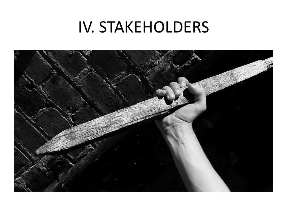 IV. STAKEHOLDERS