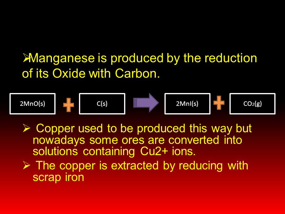  Copper used to be produced this way but nowadays some ores are converted into solutions containing Cu2+ ions.  The copper is extracted by reducing