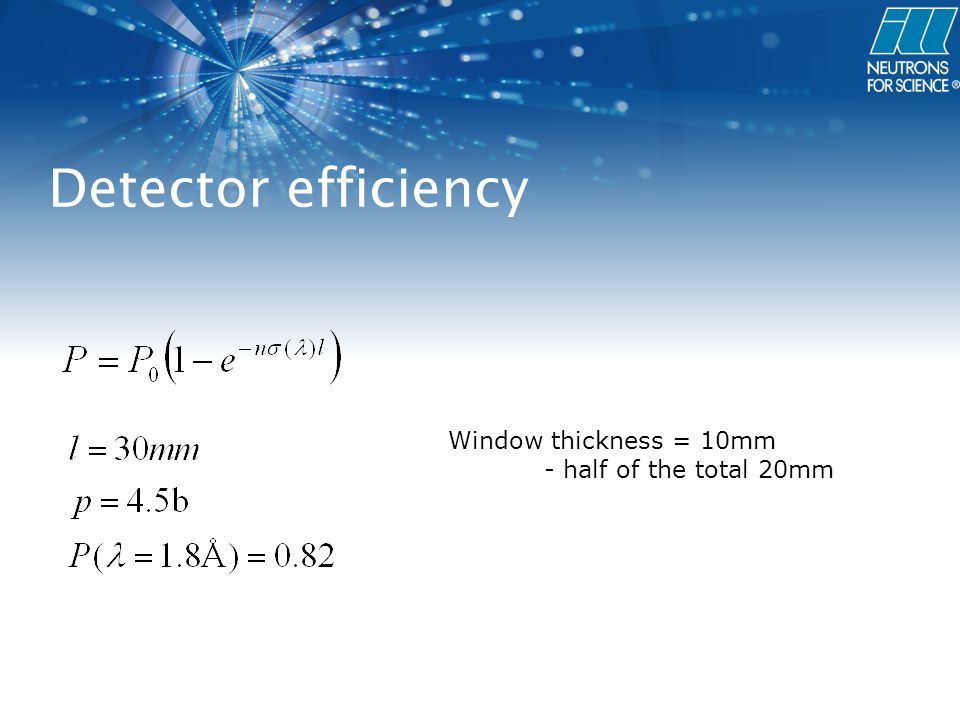 Detector efficiency Window thickness = 10mm - half of the total 20mm