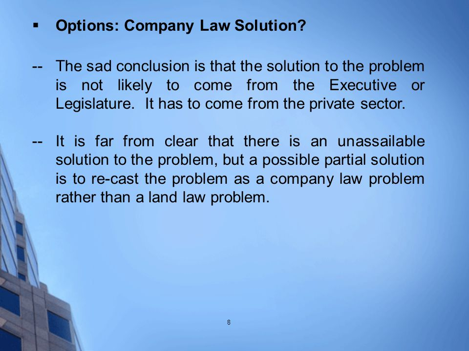  Options: Company Law Solution.