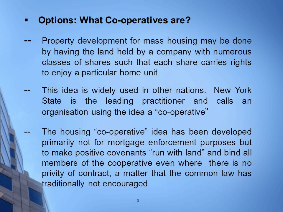  Options: What Co-operatives are.