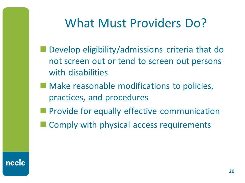 What Must Providers Do.