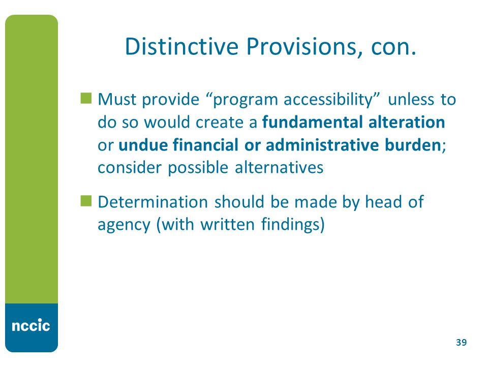 Distinctive Provisions, con.