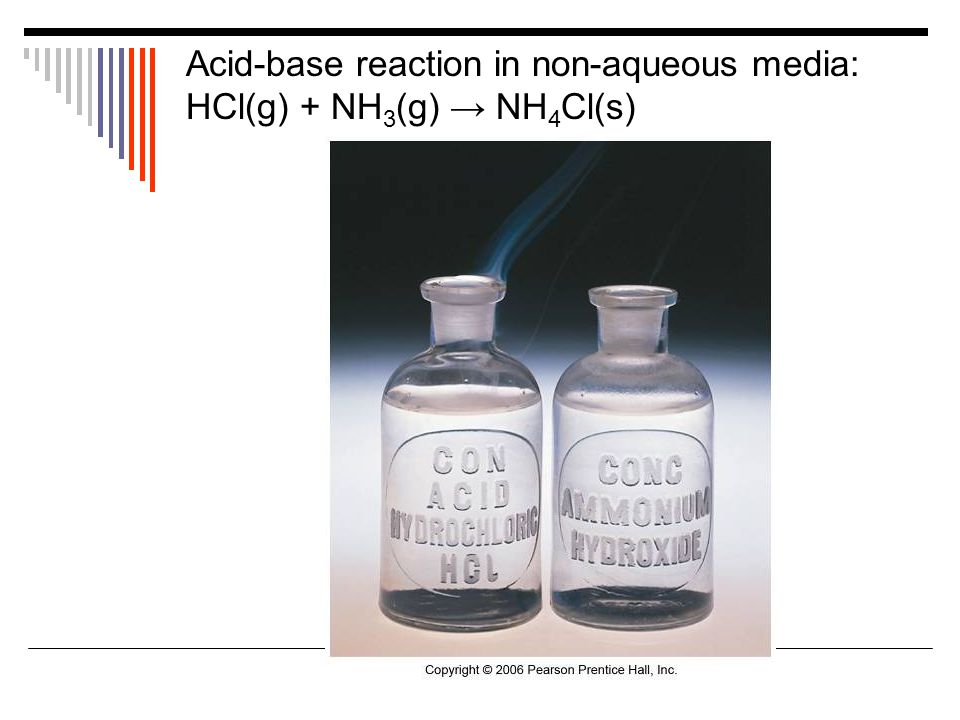 Acid-base reaction in non-aqueous media: HCl(g) + NH 3 (g) → NH 4 Cl(s)