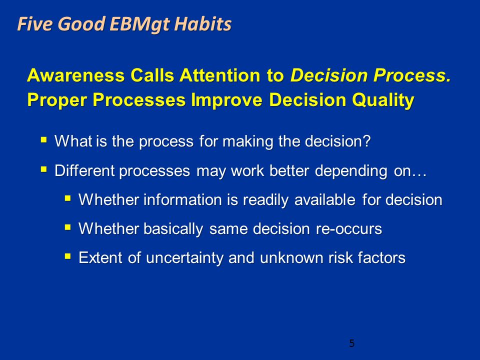 Awareness Calls Attention to Decision Process.