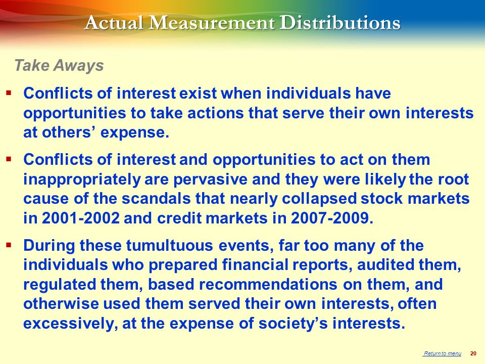 20 Actual Measurement Distributions  Conflicts of interest exist when individuals have opportunities to take actions that serve their own interests at others' expense.