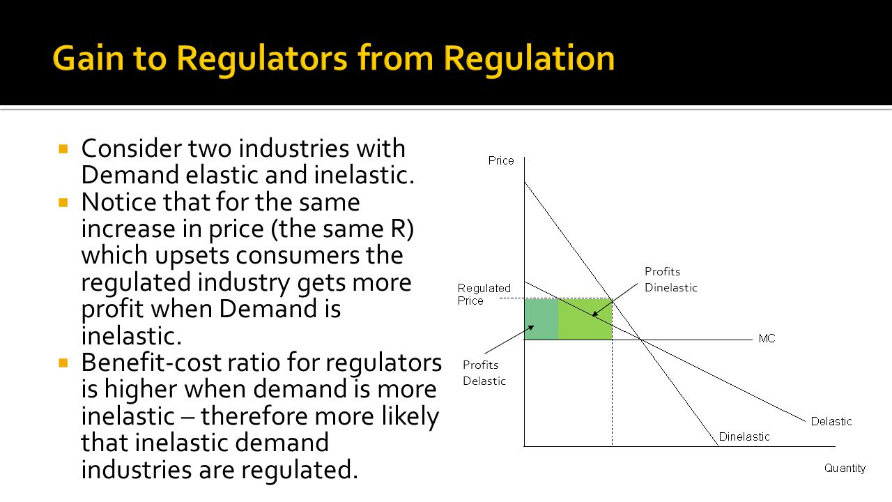  Consider two industries with Demand elastic and inelastic.  Notice that for the same increase in price (the same R) which upsets consumers the regu