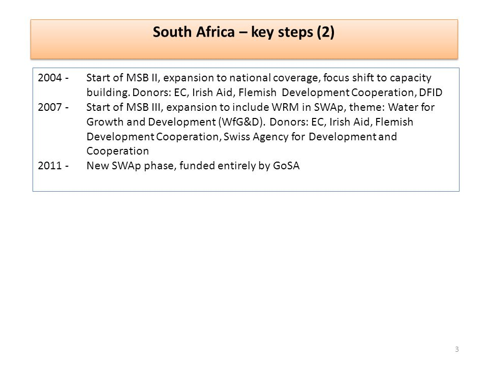 2004 -Start of MSB II, expansion to national coverage, focus shift to capacity building.