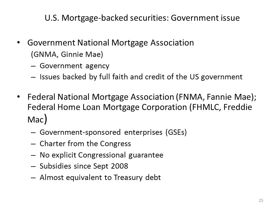 U.S. Mortgage-backed securities: Government issue Government National Mortgage Association (GNMA, Ginnie Mae) – Government agency – Issues backed by f