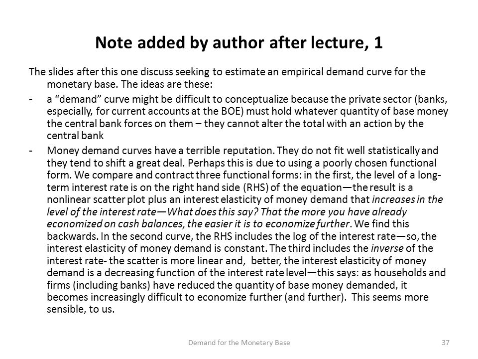 The slides after this one discuss seeking to estimate an empirical demand curve for the monetary base.