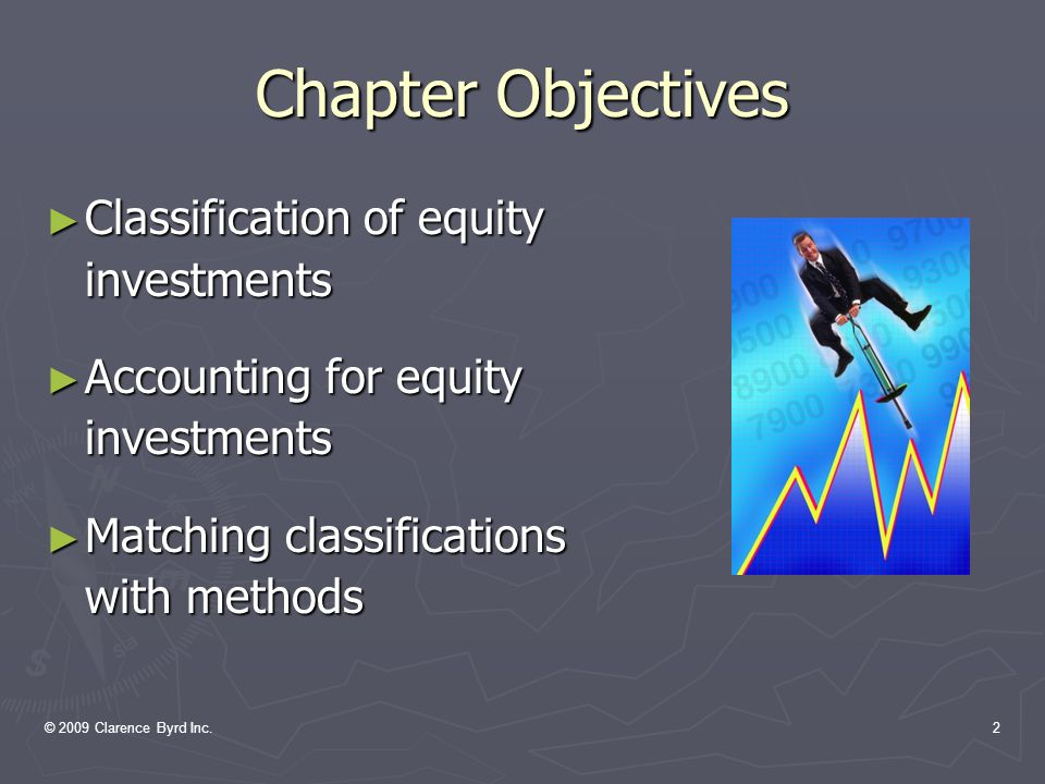 © 2009 Clarence Byrd Inc.2 Chapter Objectives ► Classification of equity investments ► Accounting for equity investments ► Matching classifications with methods