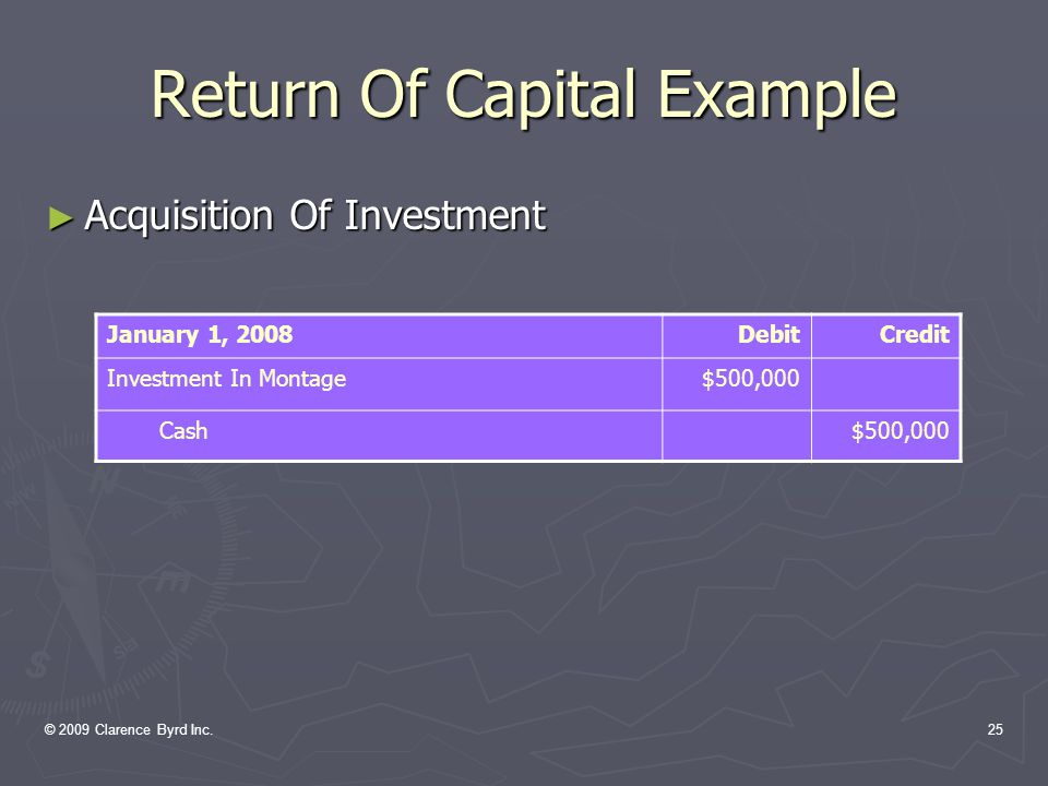 © 2009 Clarence Byrd Inc.24 Return Of Capital Example EXAMPLE: On January 1, 2008, Norton Inc.