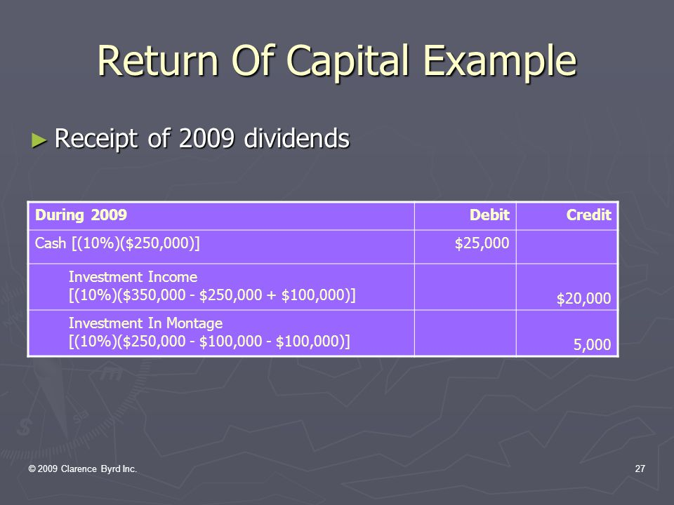 © 2009 Clarence Byrd Inc.26 Return Of Capital Example ► Receipt of 2008 dividends During 2008DebitCredit Cash [(10%)($250,000)]$25,000 Investment Income$25,000