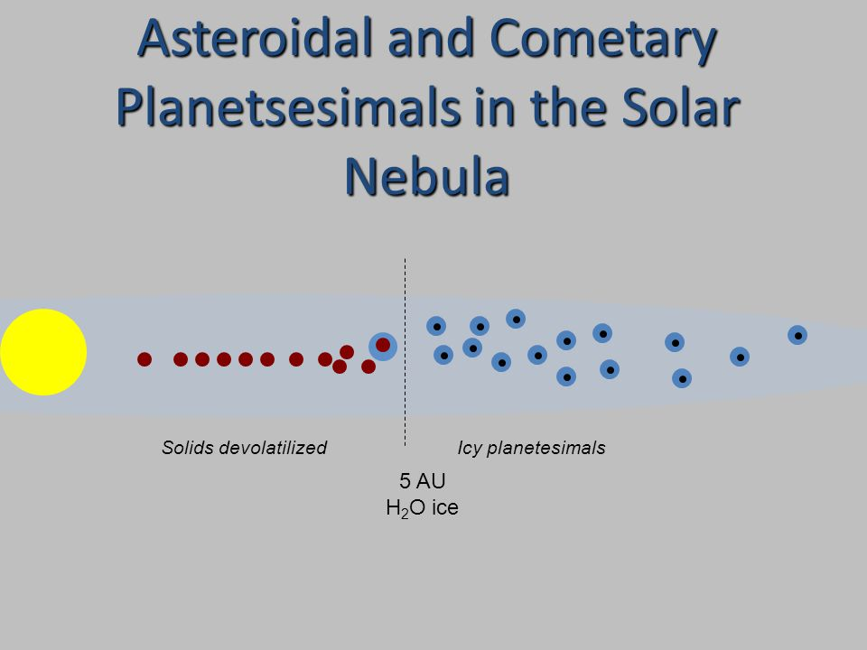 5 AU H 2 O ice Solids devolatilizedIcy planetesimals Asteroidal and Cometary Planetsesimals in the Solar Nebula
