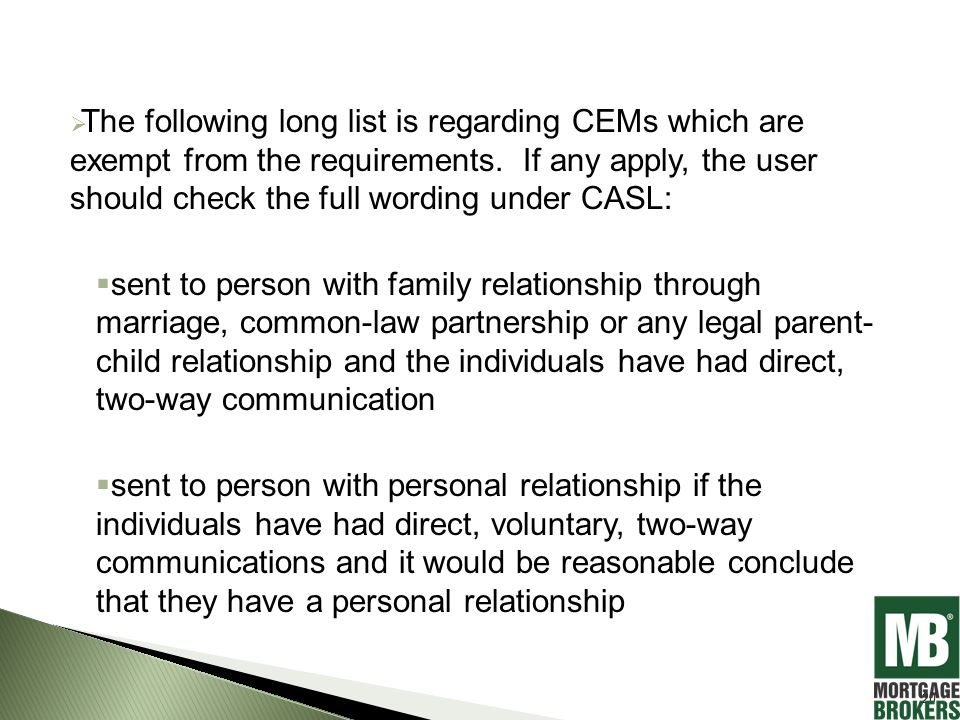  The following long list is regarding CEMs which are exempt from the requirements.