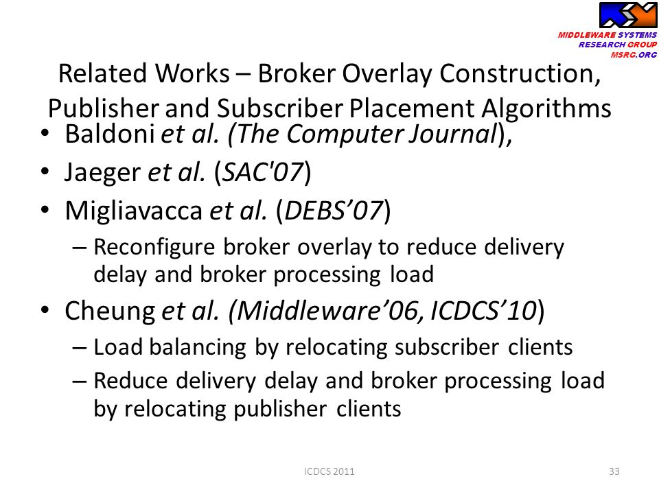 MIDDLEWARE SYSTEMS RESEARCH GROUP MSRG.ORG Related Works – Broker Overlay Construction, Publisher and Subscriber Placement Algorithms Baldoni et al.