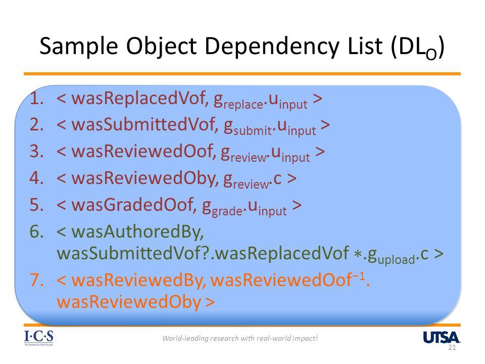 Sample Object Dependency List (DL O ) 1. 2. 3. 4.