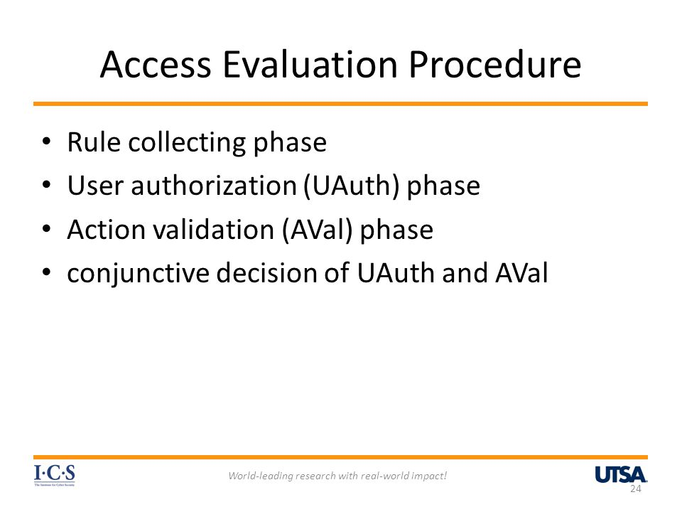 Access Evaluation Procedure Rule collecting phase User authorization (UAuth) phase Action validation (AVal) phase conjunctive decision of UAuth and AVal World-leading research with real-world impact.
