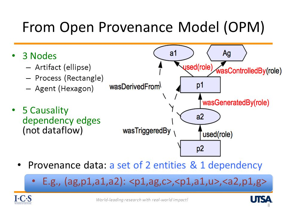 Summary Proposed a foundation for PBAC and PAC – the notion of named abstractions of causality dependency path patterns – Regular expression-based dependency path pattern Identified a Family of PBAC models Developed a Base model for PBAC – Supports Simple and effective policy specification and access control management – Supports DSOD, workflow control, origin-based control, usage-based control, object versioning, etc.