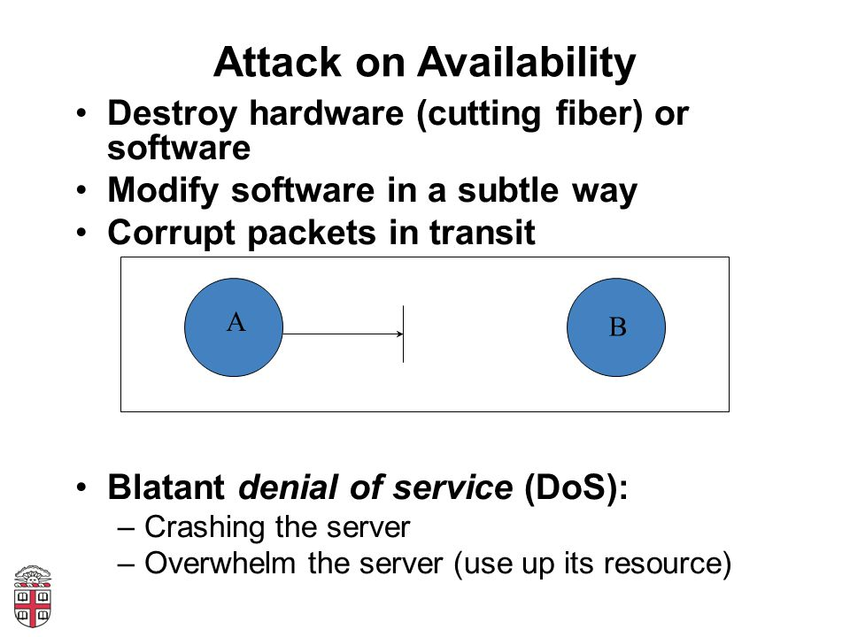 Attack on Availability Destroy hardware (cutting fiber) or software Modify software in a subtle way Corrupt packets in transit Blatant denial of service (DoS): –Crashing the server –Overwhelm the server (use up its resource) A B