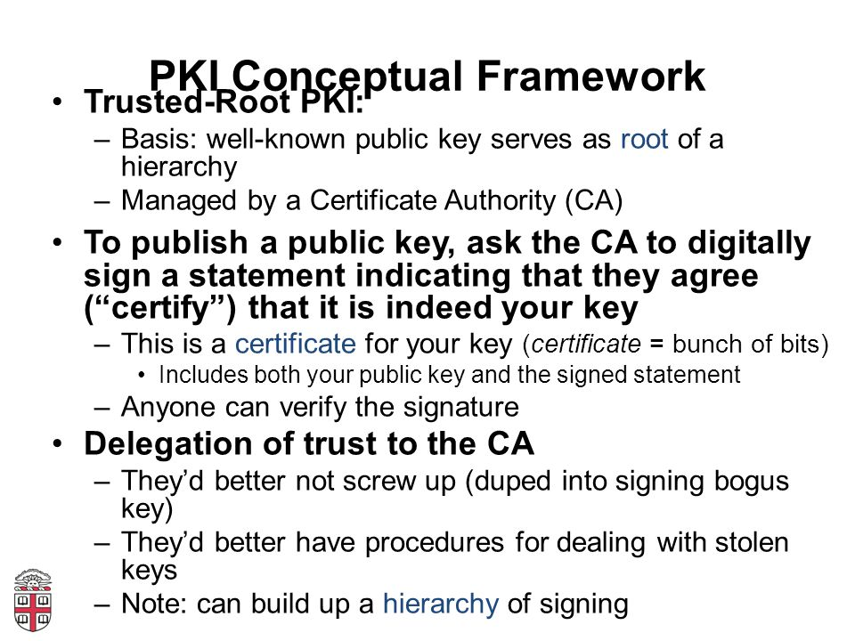 PKI Conceptual Framework Trusted-Root PKI: –Basis: well-known public key serves as root of a hierarchy –Managed by a Certificate Authority (CA) To publish a public key, ask the CA to digitally sign a statement indicating that they agree ( certify ) that it is indeed your key –This is a certificate for your key (certificate = bunch of bits) Includes both your public key and the signed statement –Anyone can verify the signature Delegation of trust to the CA –They'd better not screw up (duped into signing bogus key) –They'd better have procedures for dealing with stolen keys –Note: can build up a hierarchy of signing