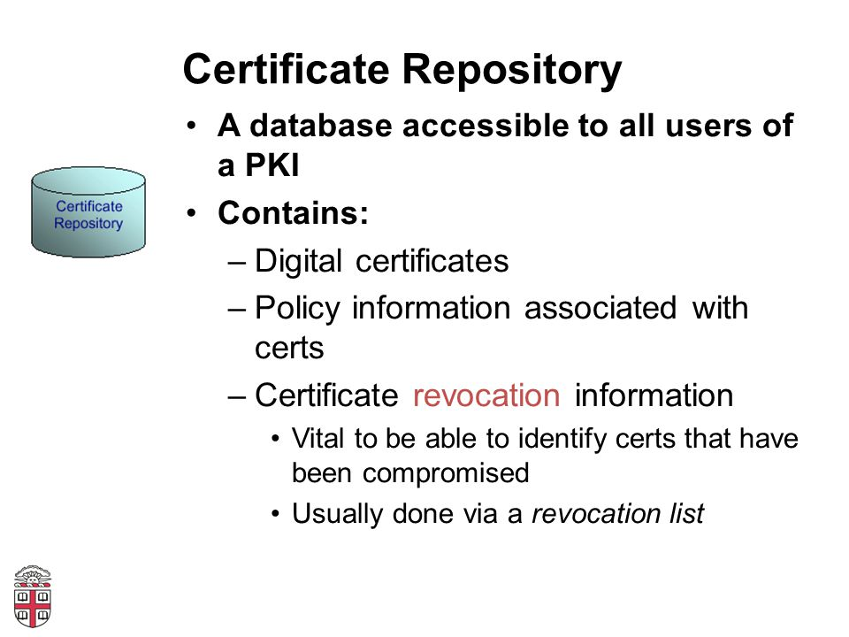Certificate Repository A database accessible to all users of a PKI Contains: –Digital certificates –Policy information associated with certs –Certificate revocation information Vital to be able to identify certs that have been compromised Usually done via a revocation list