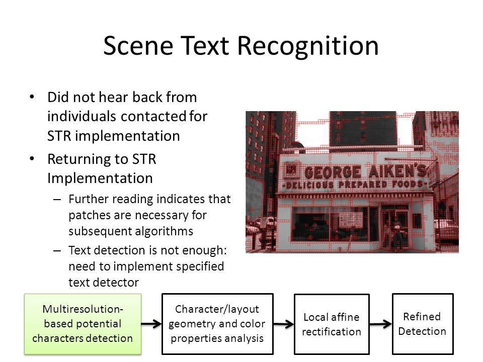 Scene Text Recognition Did not hear back from individuals contacted for STR implementation Returning to STR Implementation – Further reading indicates that patches are necessary for subsequent algorithms – Text detection is not enough: need to implement specified text detector Multiresolution- based potential characters detection Character/layout geometry and color properties analysis Local affine rectification Refined Detection