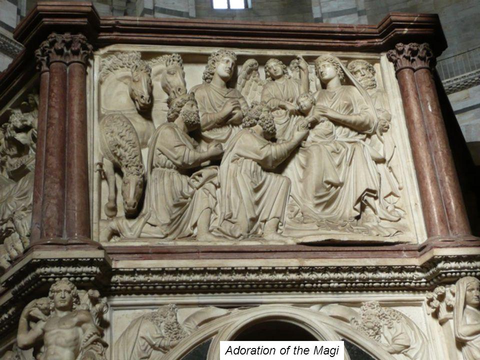 The Nativity Nicola Pisano detail of pulpit, Baptistry, Pisa