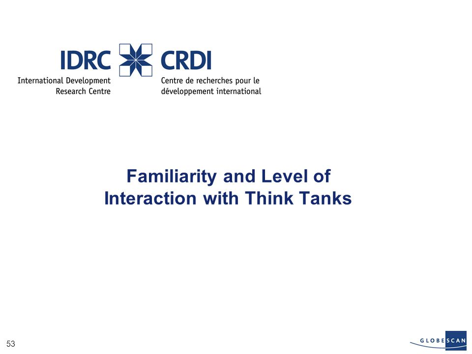 53 Familiarity and Level of Interaction with Think Tanks
